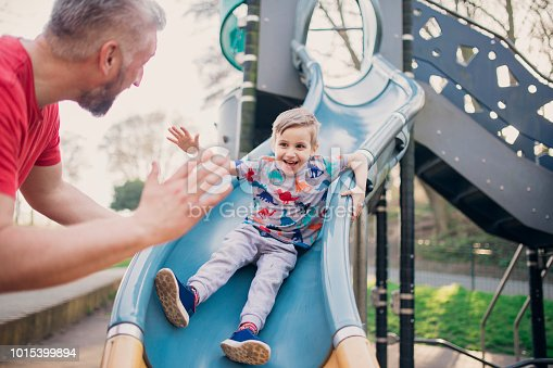 istock Playing on the Slide in the Park 1015399894