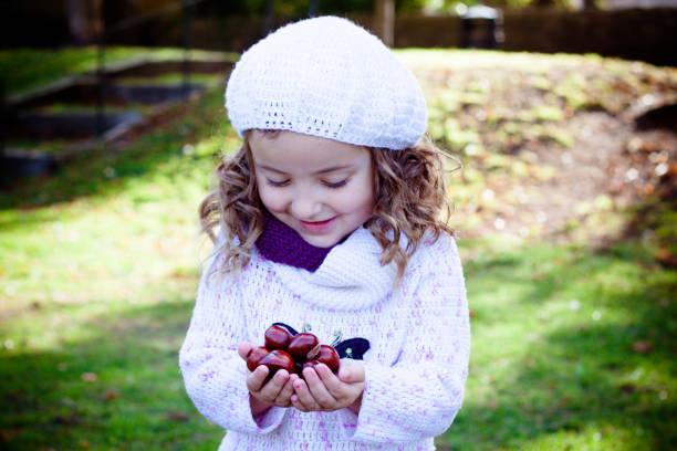 spielen im freien niedliche kleine mädchen mit einem nüsse vor sich. nüsse ernten. herbst im garten, das liebenswerte mädchen und große nüsse. - kastanientiere stock-fotos und bilder