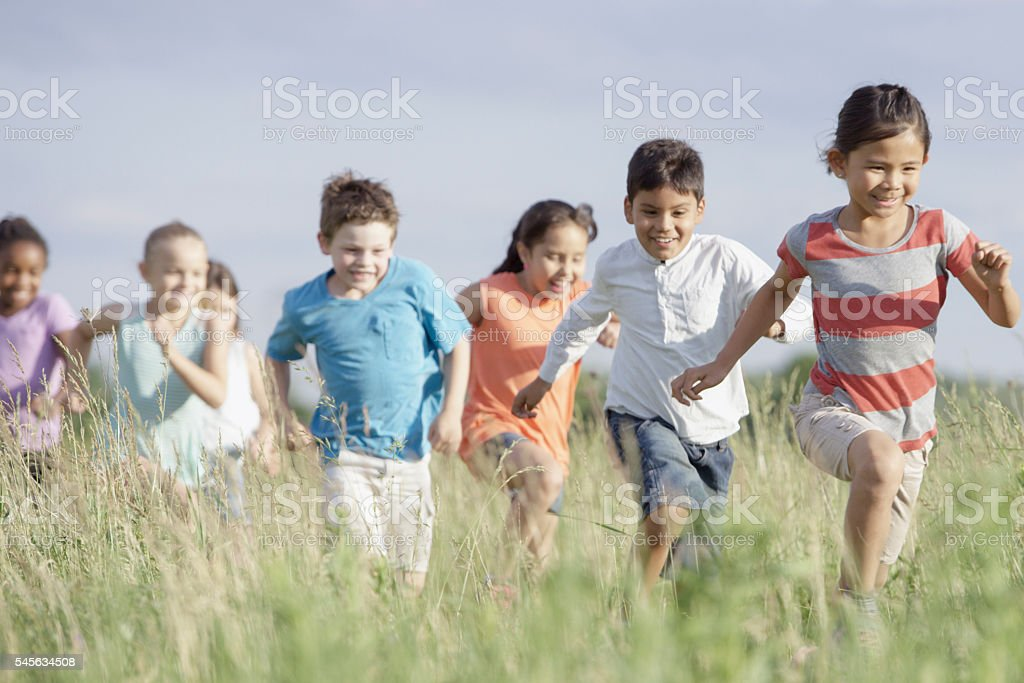 Playing Outside on a Summer Day stock photo