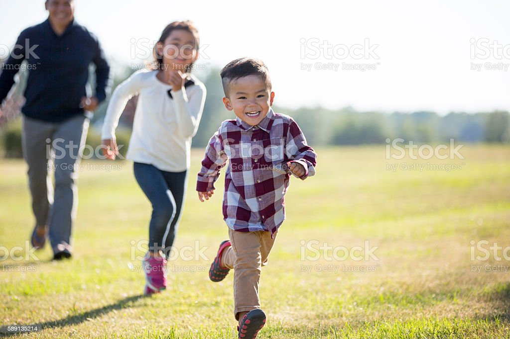 Playing Outside on Father's Day stock photo