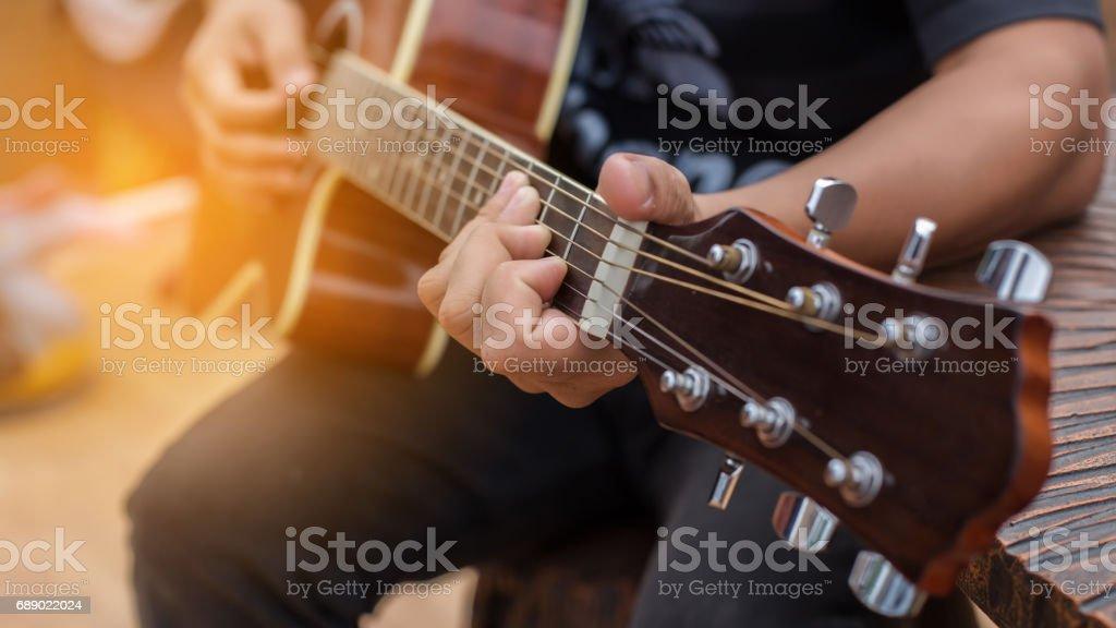 Playing perfect riff. stock photo