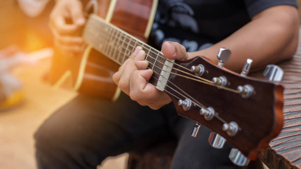 Playing perfect riff. Playing perfect riff. guitarist stock pictures, royalty-free photos & images