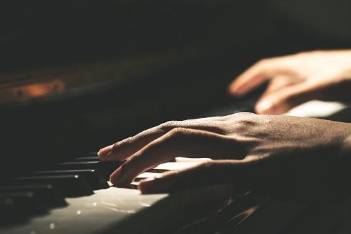 Playing Piano Close-up Shot