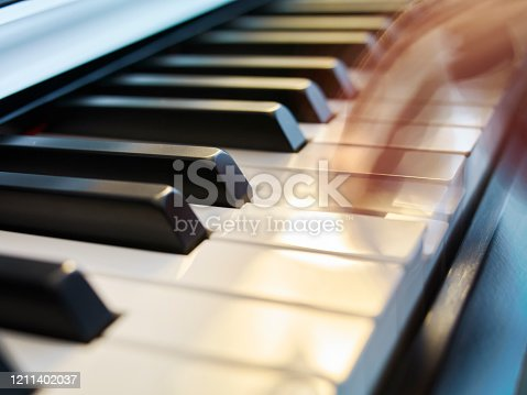 Close up scene of playing piano