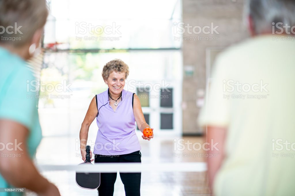 Playing Pickleball stock photo