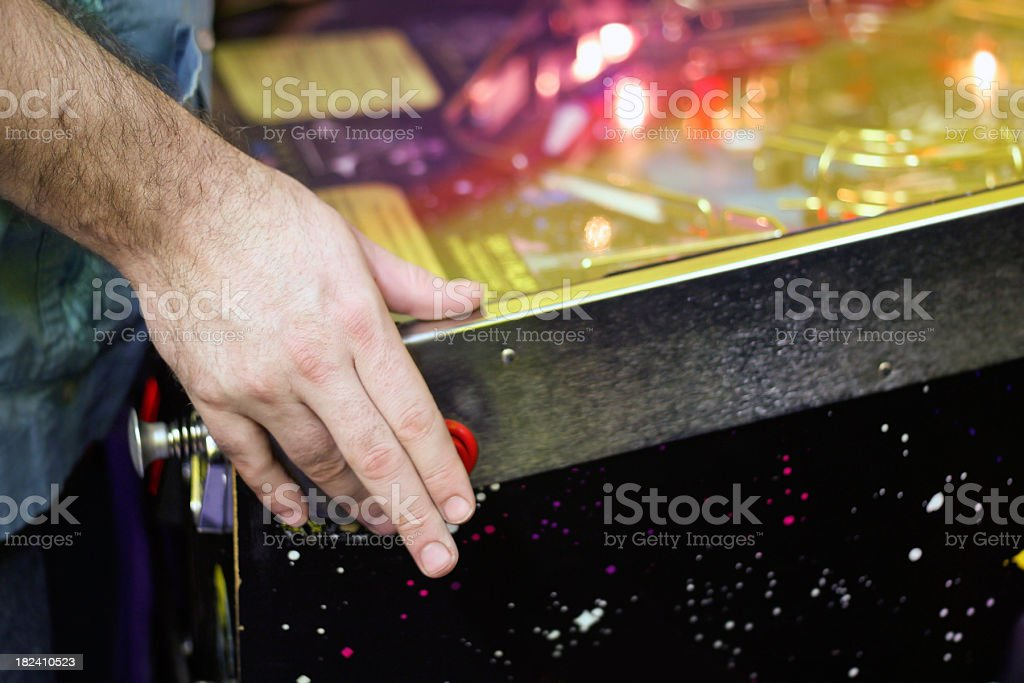 Playing Pinball royalty-free stock photo