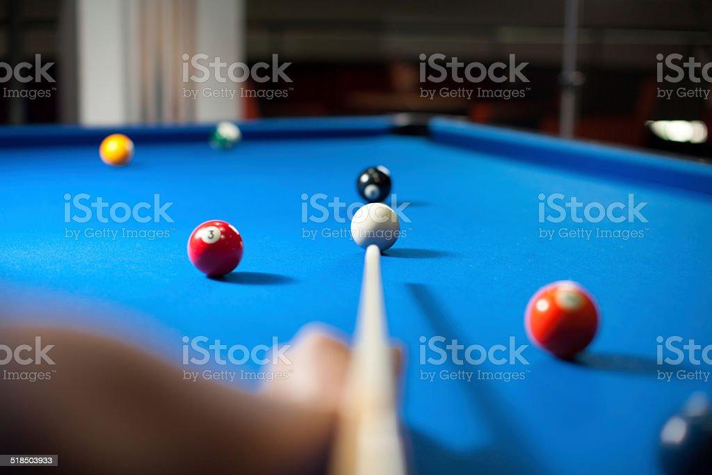 Playing Pool game - Eight ball stock photo