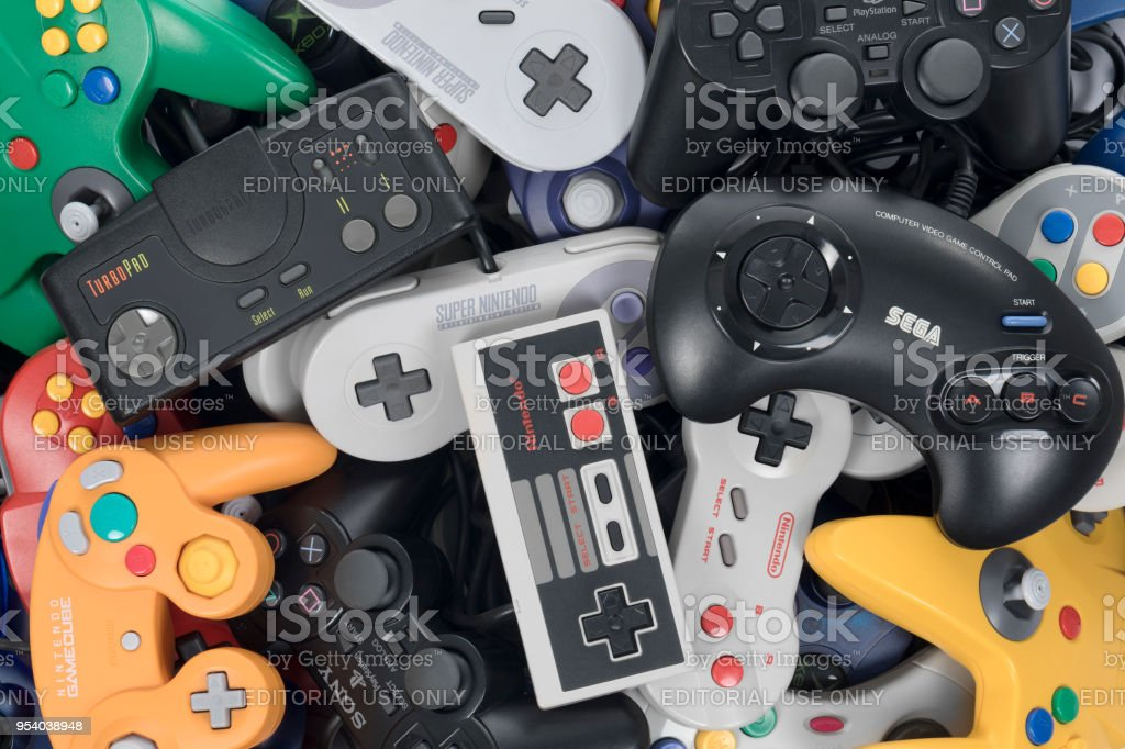 Playing Retro Video Games stock photo