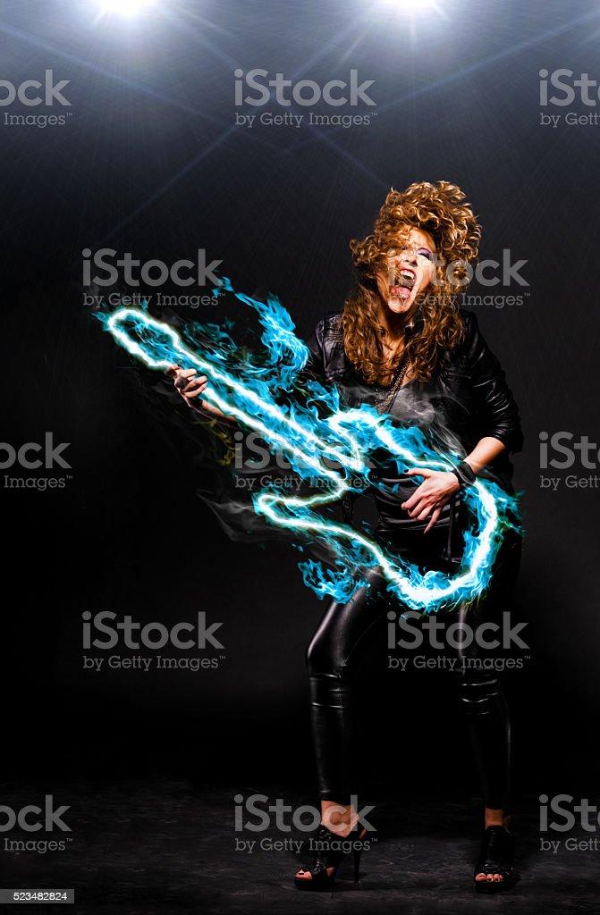playing rock music stock photo