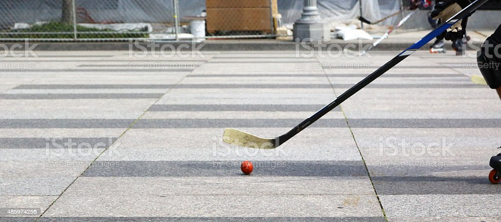 Playing roller in-line hockey in Washington stock photo