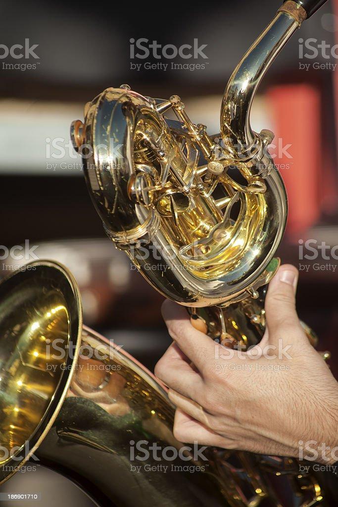 Playing saxophone royalty-free stock photo