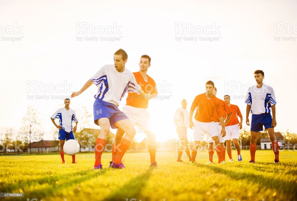 Playing soccer. royalty-free stock photo