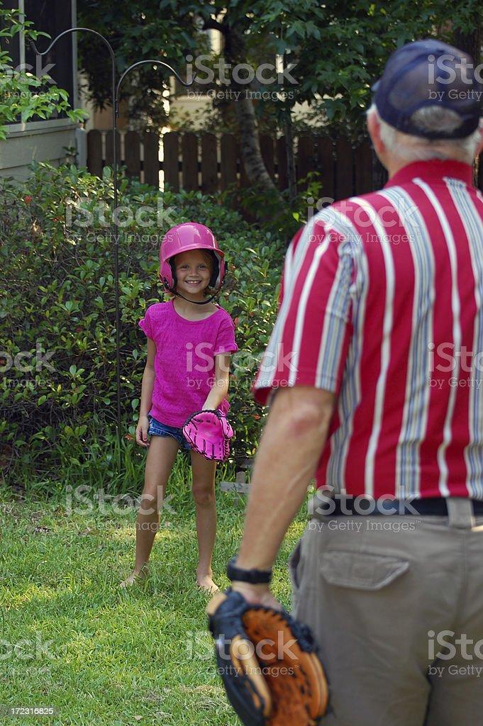 Playing Softball with Granddad stock photo