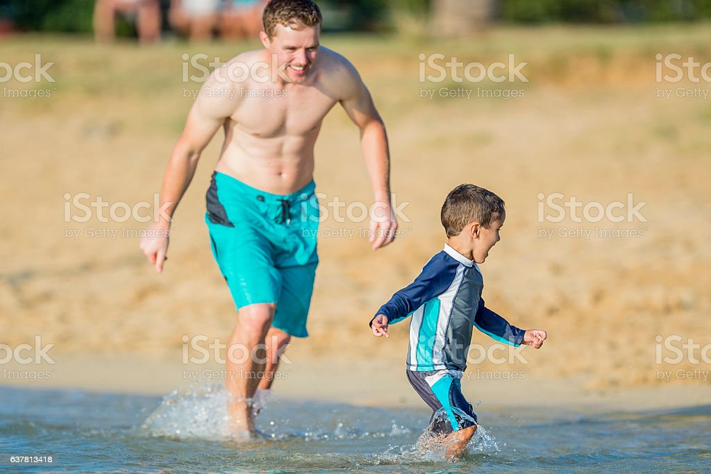 Playing Tag on Vacation stock photo