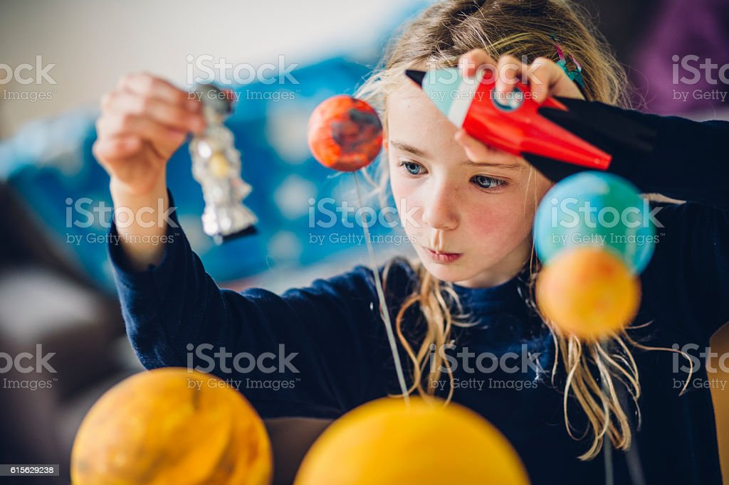 Playing The Astronaut stock photo