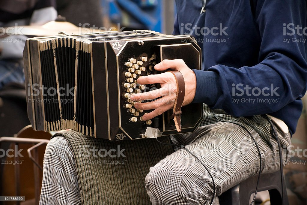 Playing the 'bandoneón' stock photo