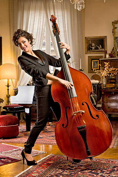 Playing The Bass.Color Image stock photo