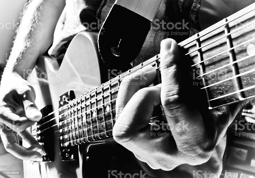 playing the C# major on a les paul guitar royalty-free stock photo