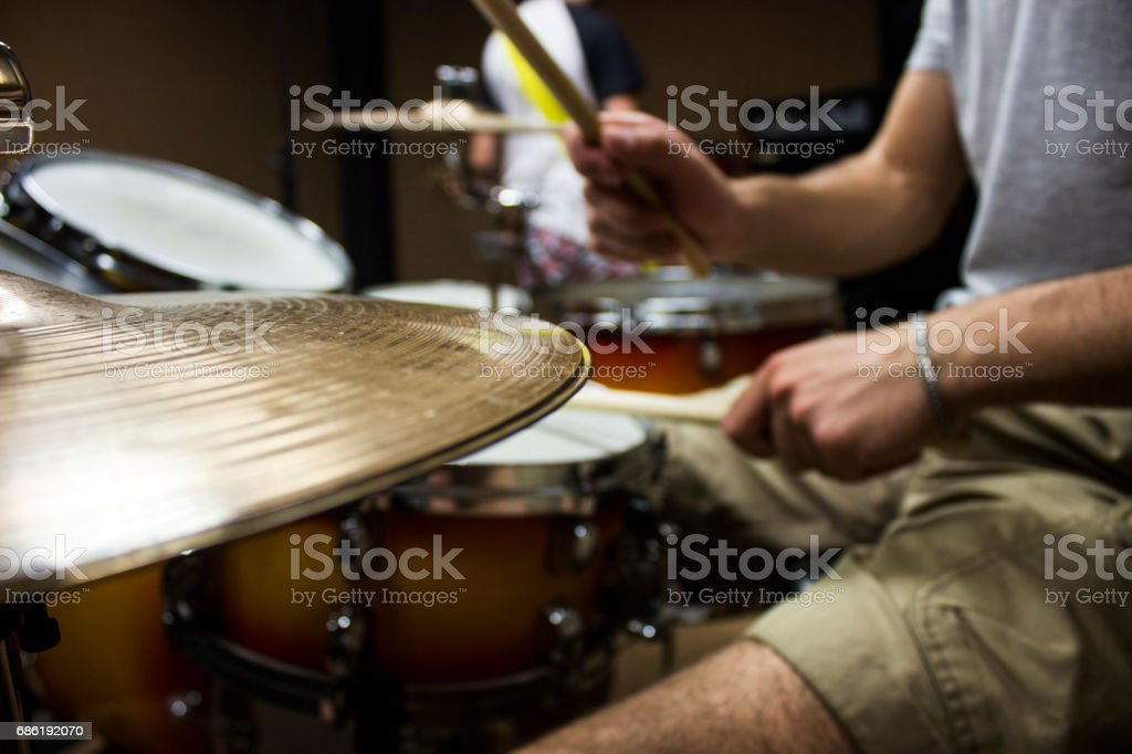 Playing the drums stock photo