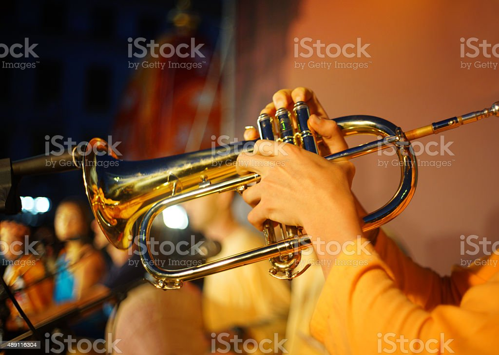 Playing the Flugelhorn stock photo