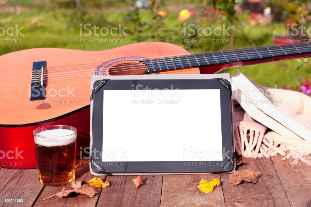 Playing the guitar. stock photo