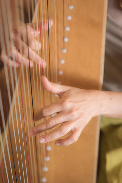 playing the harp the hands of a woman playing the harp ARPA stock pictures, royalty-free photos & images