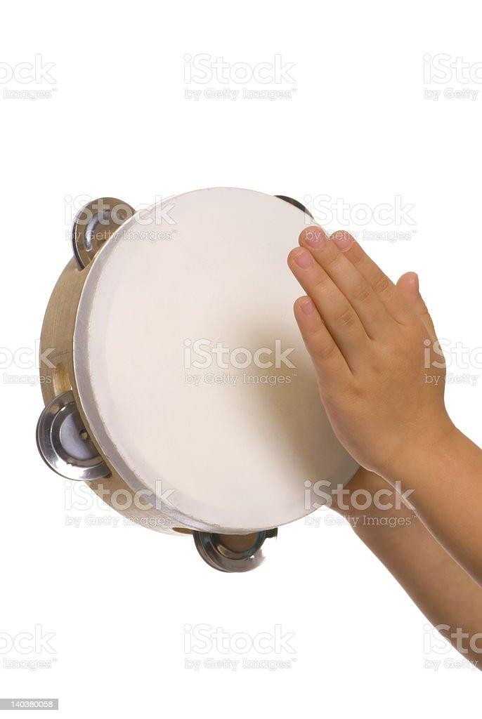 Playing the tambourine 2 stock photo