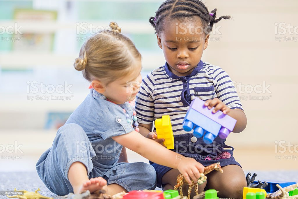 Playing Together at School stock photo