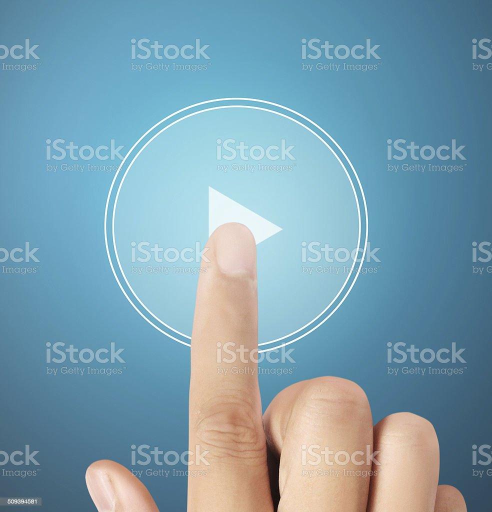 Jugando pantalla táctil - foto de stock