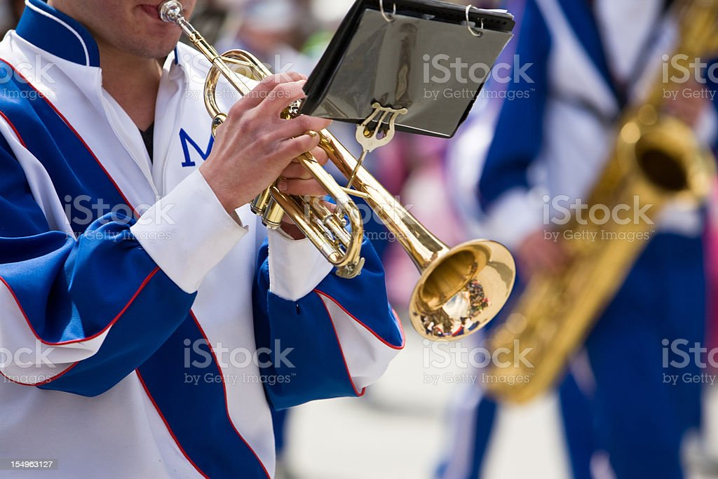 Playing Trumpet in the Parade stock photo