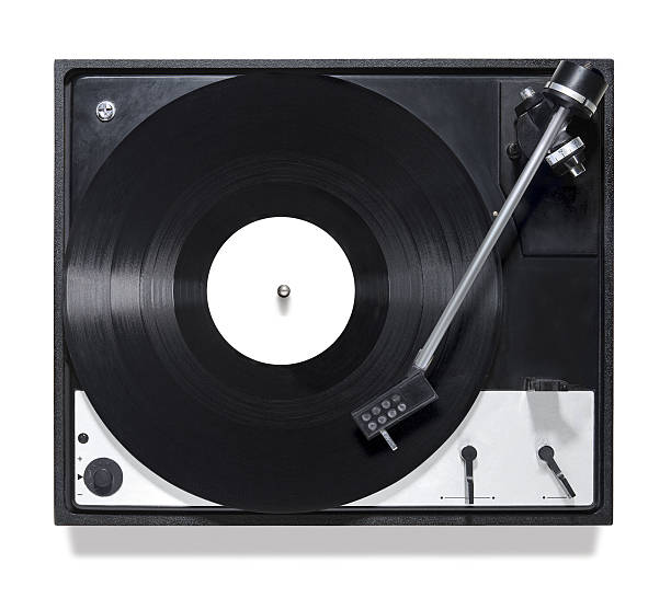 playing turntable on top view stock photo