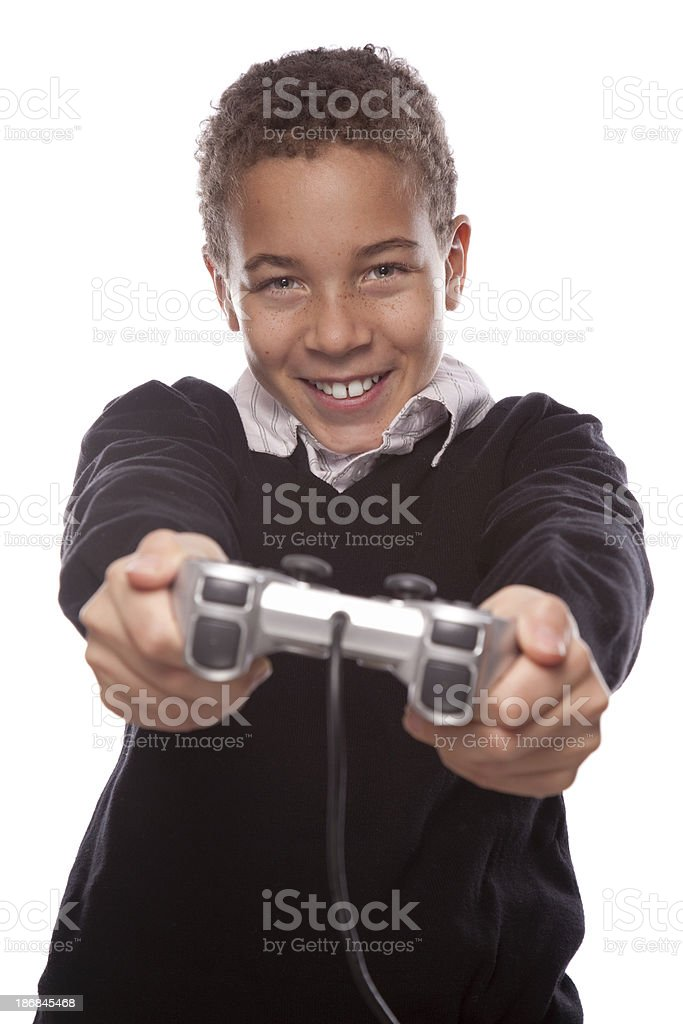 Playing video game royalty-free stock photo