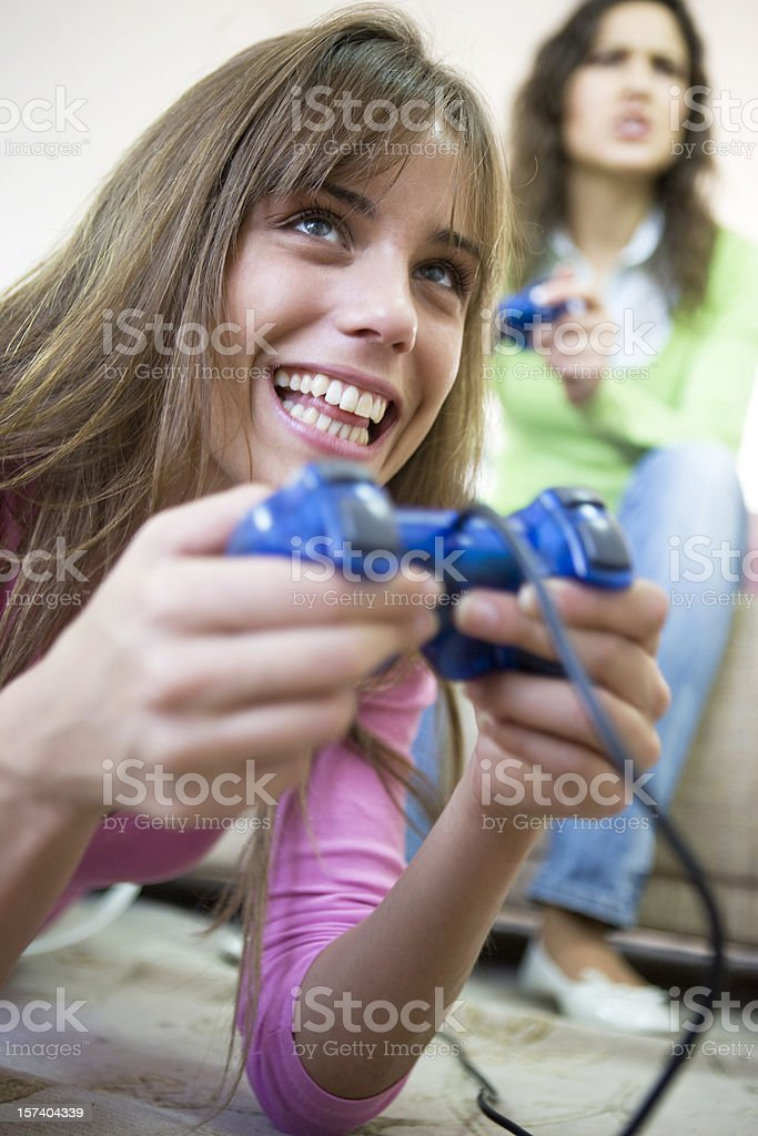 Playing video game XXL royalty-free stock photo