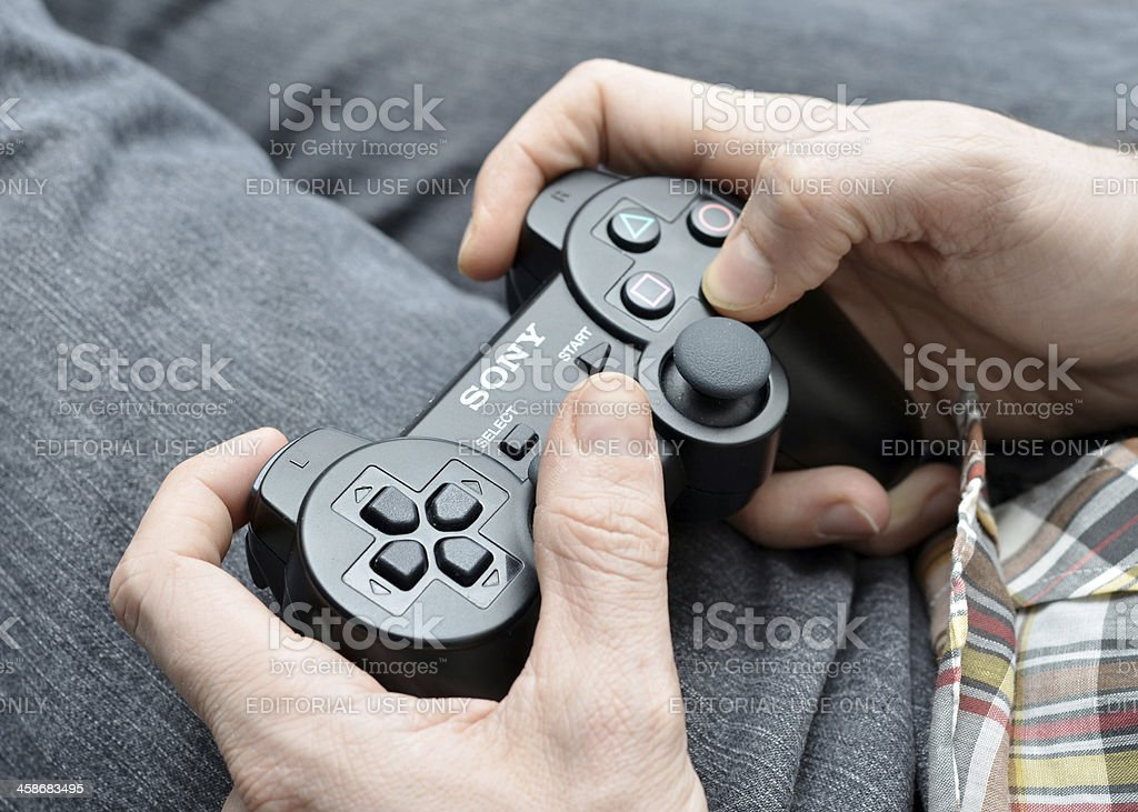 Playing Video Games stock photo