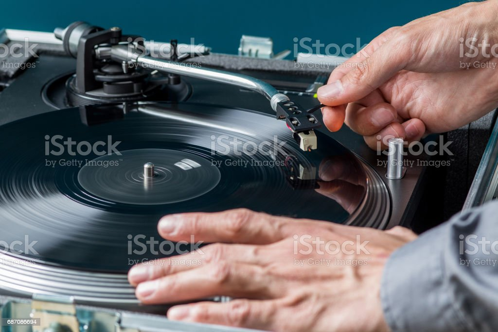 Playing Vinyl Record Concept, Close Up stock photo