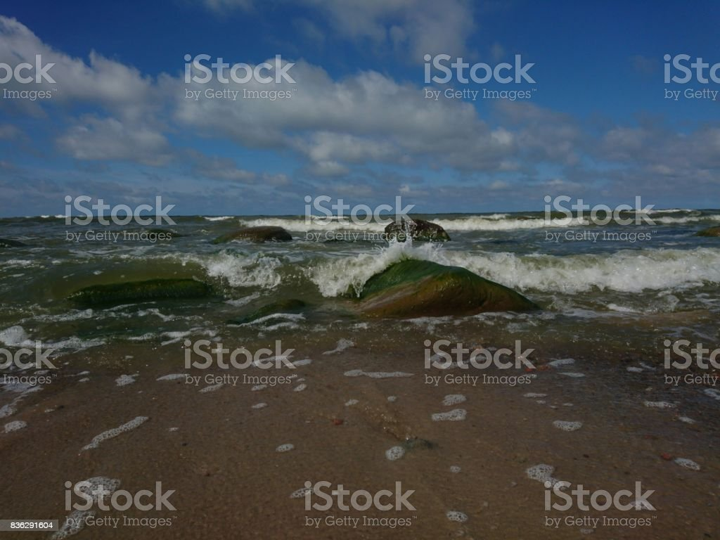 Playing waves. Or landscape with sea stock photo