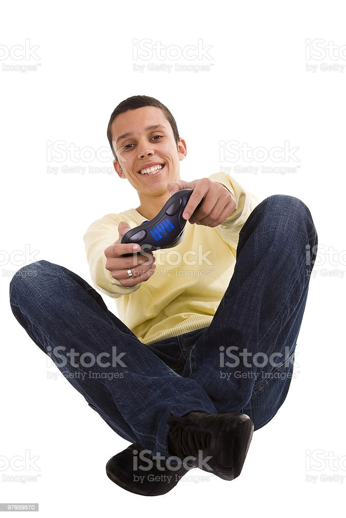 Playing with a joypad royalty-free stock photo