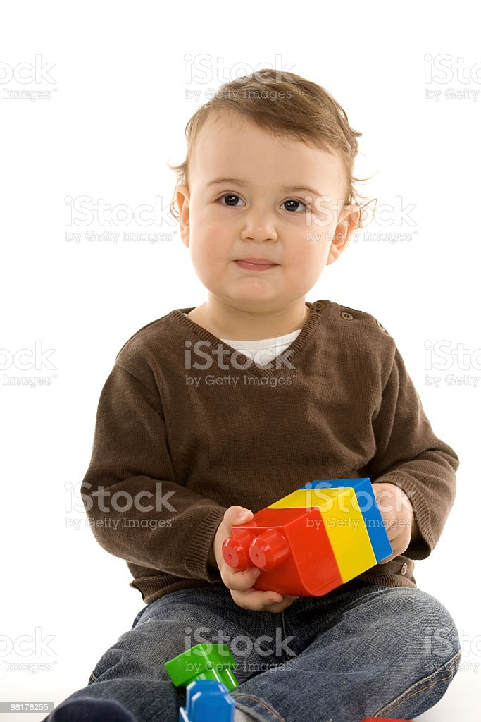 Playing with blocks royalty-free stock photo