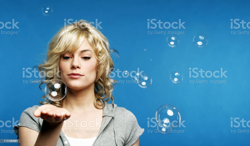 Playing with bubbles royalty-free stock photo