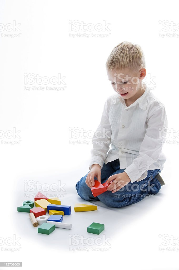 playing with building blocks royalty-free stock photo