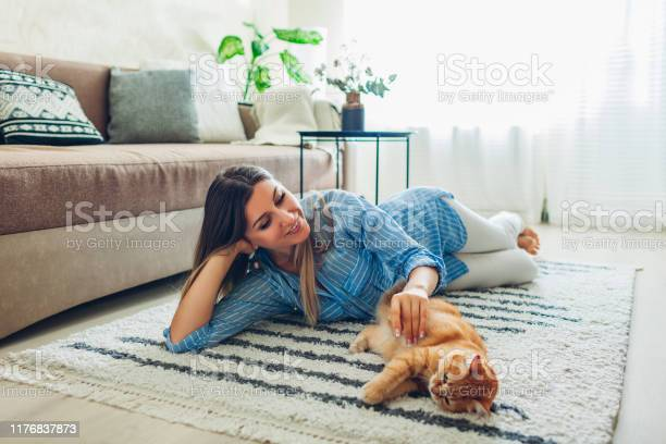 Playing with cat at home young woman lying on carpet and teasing pet picture id1176837873?b=1&k=6&m=1176837873&s=612x612&h=1vvajqipveoj1j0fsoesabszkyojgf0crbeu0h96ea8=