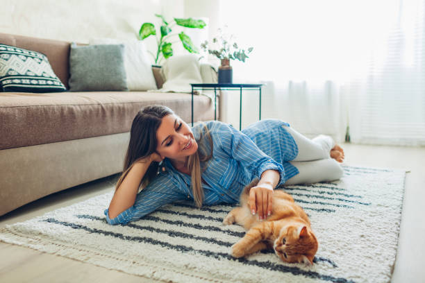 Playing with cat at home. Young woman lying on carpet and teasing pet.