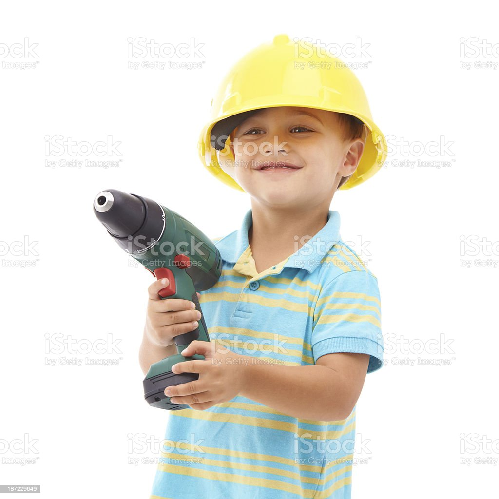 Playing with Dad's toys royalty-free stock photo