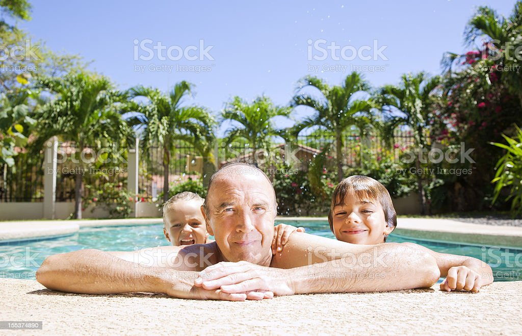 Playing with Grandad royalty-free stock photo