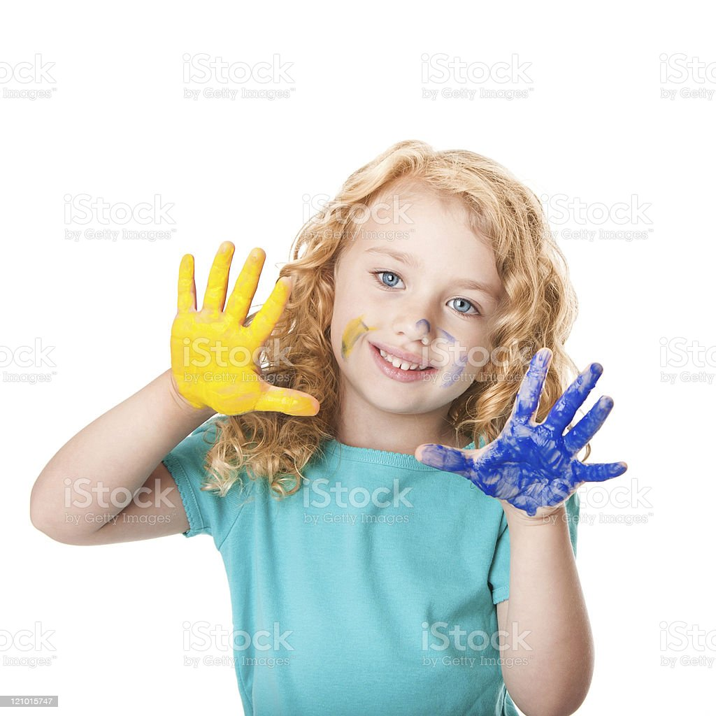 Playing with hand paint colors stock photo