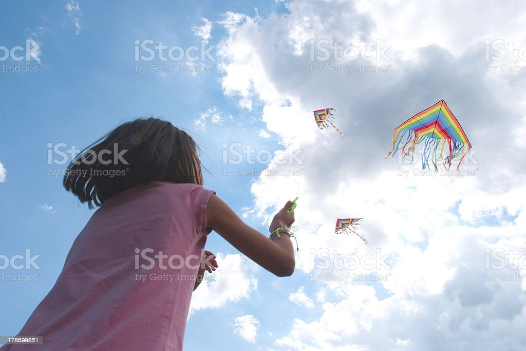 Playing with kite royalty-free stock photo