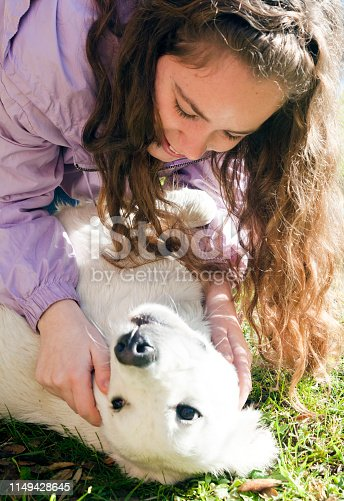 istock Playing with my dog in the meadow 1149428645