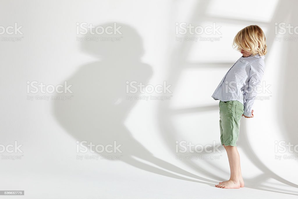 Playing with my shadow stock photo
