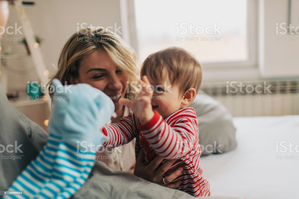 Playing with our baby royalty-free stock photo
