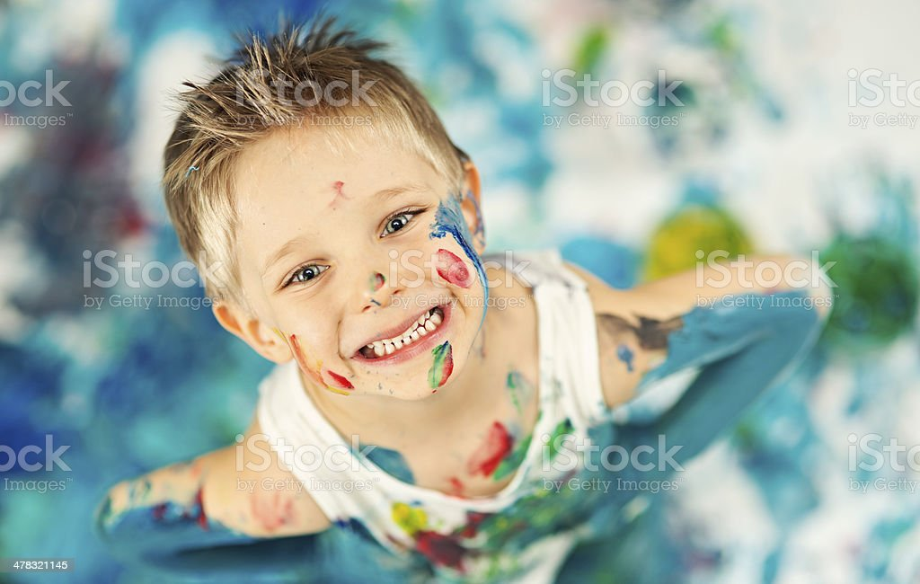 Playing with paint royalty-free stock photo
